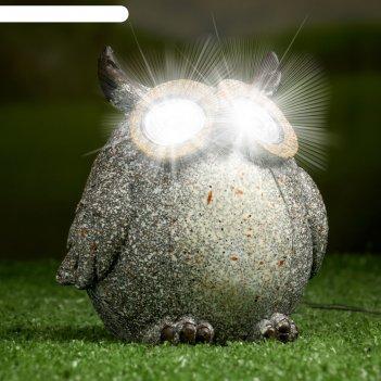 Садовый светильник филин серый на солнечной батарее, 11,5 см