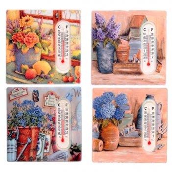 Декоративное изделие магнит с термометром цветы, 7,5х7,5 с...
