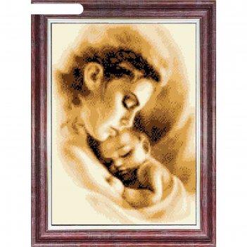 Канва с нанесенным рисунком для вышивки крестом «мать и ребёнок», элит сер