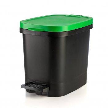 Мусорный бак с педалью be-util 10л, черный-зеленый