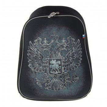 Рюкзак каркасный hatber ergonomic light 37*29*17 мал символика, чёрный nrk