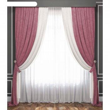 Комплект штор «латур», бело-розовый, 100% полиэстер