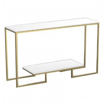 Консоль designo ножки металл золото столешница белая, 130х35х78см