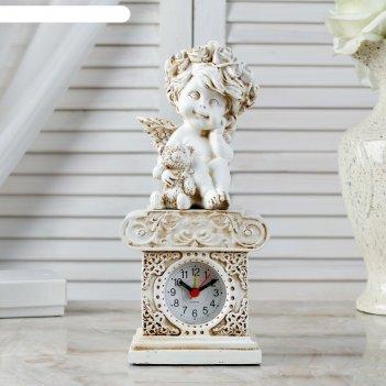 Часы настольные  ангел с медведем, h=24 см