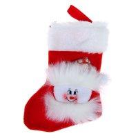 Носок для подарка снеговик (красный, пушистый)