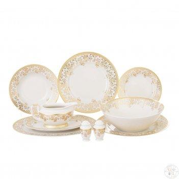 Столовый сервиз на 6 персон falkenporzellan constanza cream - sophie gold