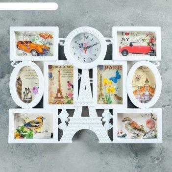 Часы настенные, серия: фото, азалия, 8 фоторамок, 55х42 см
