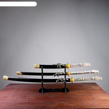 Катаны сувенирные 3в1 на подставке, черные ножны, рукоять под слоновую кос