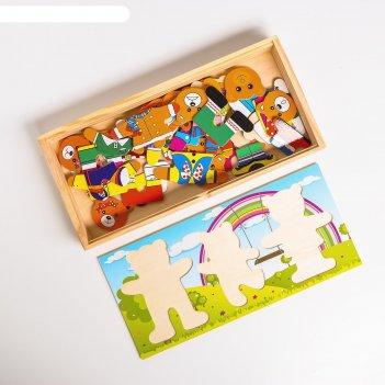 Пазл семья медвежат на древесном фоне, 29 элементов