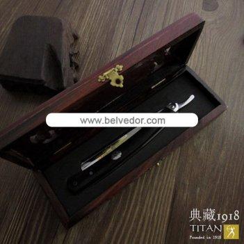 Опасная бритва titan 1918 черное и красное дерево в деревянной коробочке