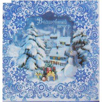 Салфетка для декупажа новогодние узоры, 33 х33 см
