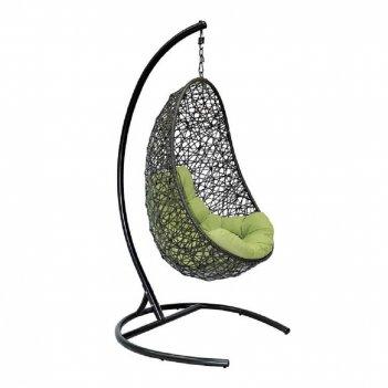 Подвесное кресло easy black ми, каркас черный, подушка зеленая(салатовая)