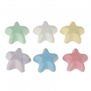 Мелки цветные 6 шт. 6 цветов «фантазия» в форме звездочки, пакет с европод