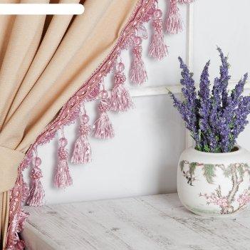 Тесьма с бусинками, 10 см, 12 ± 1 м, цвет розовый