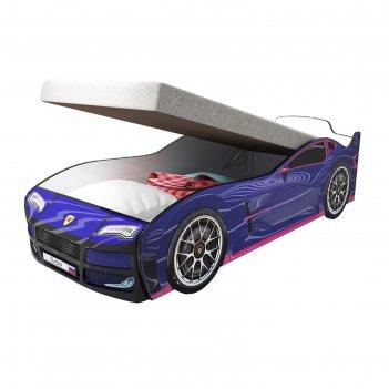 Кровать машина «турбо синяя», подъёмный матрас, без подсветки