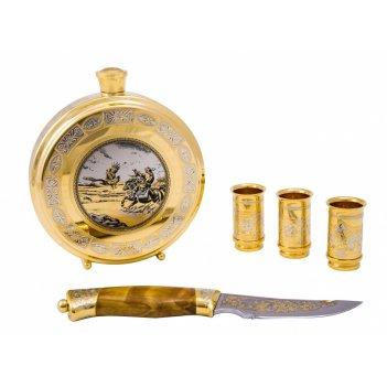 Набор охотничий сокол (фляга большая, 3 стопки, нож)  златоуст