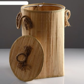 Корзина для белья, с крышкой и ручками, складная, 33x50 см, бамбук, джут
