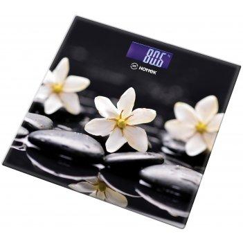 Весы напольные цветы на чёрном hottek ht-962-012 30*30 см макс.вес 180кг (