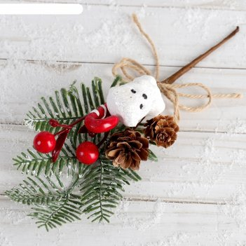 Декор зимнее очарование 21 см мишка шишки леденец