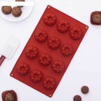 Форма для льда и шоколада заварные колечки, 15 ячеек