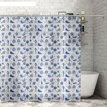 Штора для ванной 180x180 см ракушки, цвет белый