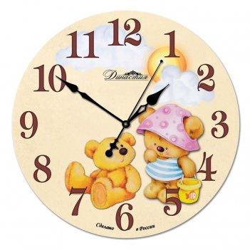 Настенные часы из стекла династия 01-024 медвежата