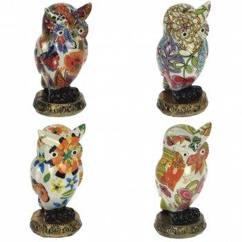Фигурка декоративная сова, l4,5 w4,5 h10,5 см, 4в.