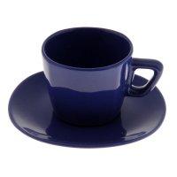 Набор чайный, 2 предмета: чашка 200 мл, блюдце, синий, квадратный