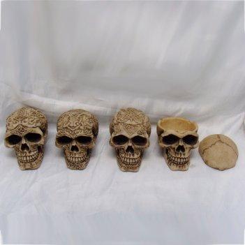 Пепельница череп, 4 в., l9 w6,5 h7 см