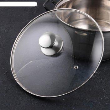 Крышка для сковороды и кастрюли стеклянная jarko, d=28 см, с ручкой из нер