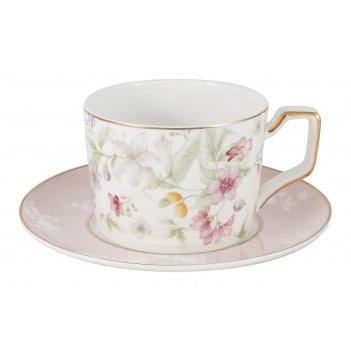 Чашка с блюдцем цветы