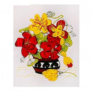 Набор для вышивания лентами цветы в вазе размер основы 30*30 см