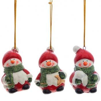 Новогоднее украшение снеговик, l4,2 w3,6 h6 см, 3 в.