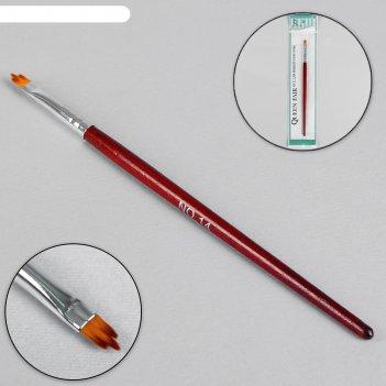 Кисть для дизайна ногтей «трезубец», 18,2 см, голова 9 x 5 мм, цвет коричн