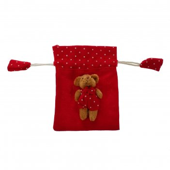 Мешок для подарков мишка с завязками, виды микс