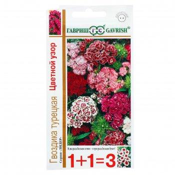 Семена цветов гвоздика 1+1 турецкая махровая цветной узор, смесь 0,8 г