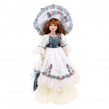 Кукла коллекционная валерия в платье с вышивкой 46 см