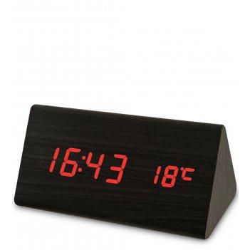 Ял-07-02/ 1 часы электронные треуг. (чёрное дерево с красной подсветкой)