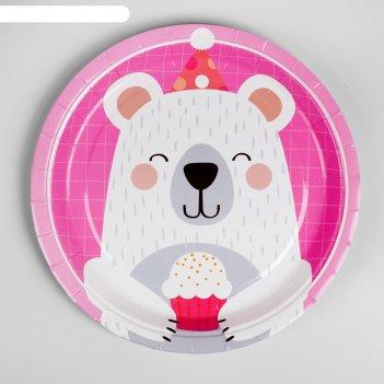 Тарелка бумажная мишка с кексом набор 10 шт, цвет розовый