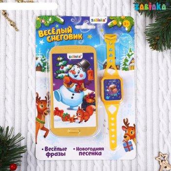 Набор игровой телефон, часы веселый снеговик желтый, sl-02597