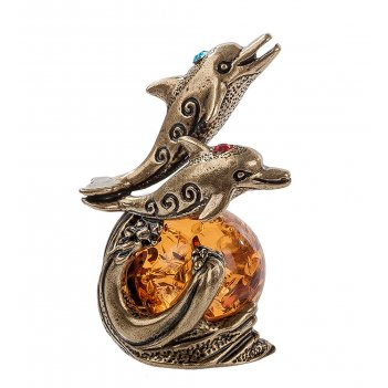 Am-267 фигурка дельфины (латунь, янтарь)