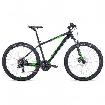 Велосипед 27,5 forward apache 2.2 disc, 2021, цвет черный матовый/ярко-зел