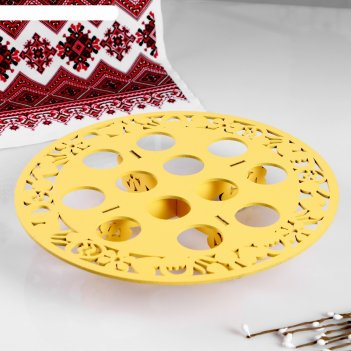 Подставка для яиц на 12 шт., 26х26х5 см, жёлтый