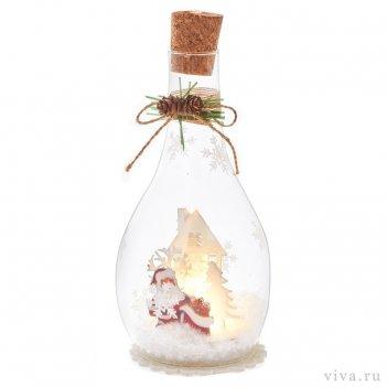 Композиция с подсветкой  в бутыле 1
