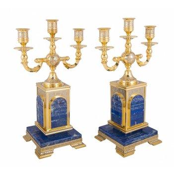 Подсвечники лазурит трехрожковый (2 штуки)  златоуст