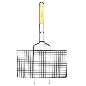 Решетка для гриля 45х25.5х2 см с антипригарным покрытием и деревянной ручк