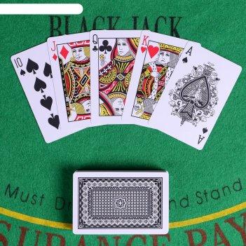 Карты игральные пластиковые poker range, 2 колоды по 54 шт, 25мкр, 8.8х5.7