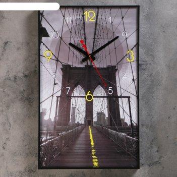 Часы настенные, серия: город, мост в небеса, 37х61 см