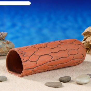 Аквариумная декорация терракотовая трубка,  коричневая большая