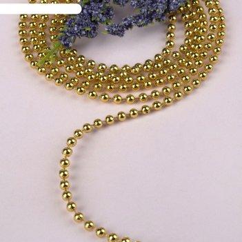 Стразы на нитях, круглые, 4 мм, 9±1 м, цвет золотой